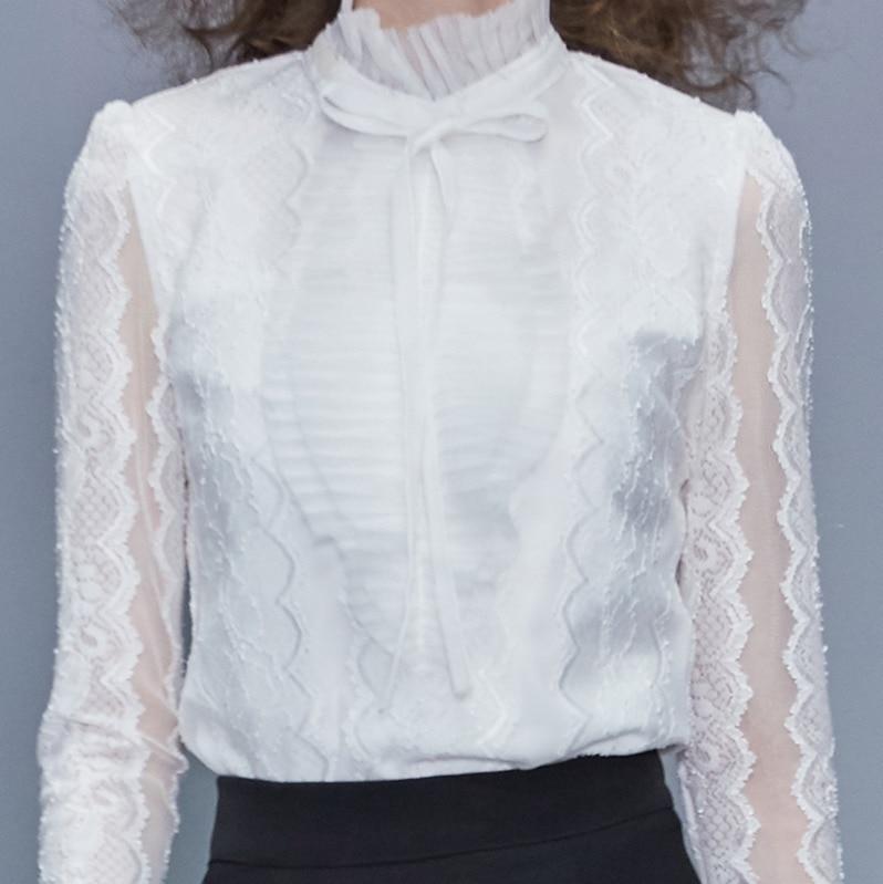 Européenne 2019 été automne nouvelles modes femmes hauts et Blouse manches longues Sexy dentelle couleur unie col montant chemise blanche A288 - 4