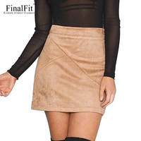 FinalFit Suede Tight Skirt Spring Summer Autumn Bodycon Sexy Mini Short Skirt