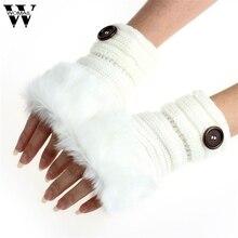 WOMAIL для женщин девочек Теплые зимние Искусственный мех кролика наручные перчатки, варежки без пальцев jan30/P fed30