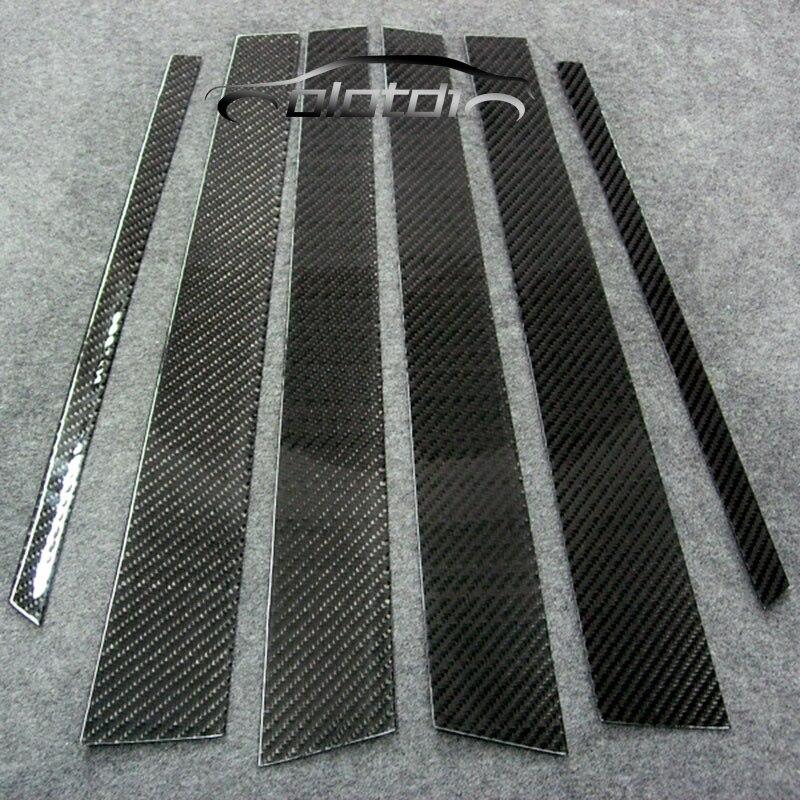 OLOTDY fenêtre de voiture BC colonne bandes de garniture en Fiber de carbone protection de carrosserie paillettes autocollants 6 pièces pour BMW F10 série 5