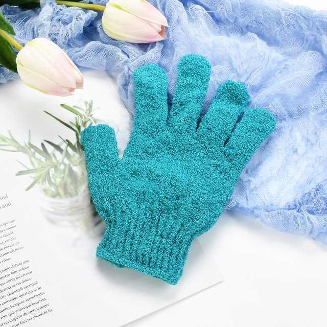 2 PCS Exfoliating Gloves Mitt Bath Shower Scrub Tan Dead Skin Removal Exfoliator Elastic Five-Finger Bath Gloves Random Color 2