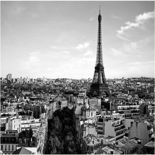 Beibehang Custom Fresco Wallpaper Any Size Aesthetic Modern French City Eiffel Tower Black And White Landscape