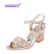 Women Rome Sandals Bling Square Heel Summer Shoes Woman Sexy High Heels Buckle Open Toe Female Fashion Party Mujer Sandalias недорго, оригинальная цена