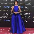 Pantalones Traje Azul real Vestidos de La Celebridad Elegante Vestido de Fiesta Por Encargo 2017 de Satén Vestido De Festa Vestidos Formales de Noche Vestido