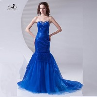 Vestido Longo Crystals Evening Dresses Long Royal Blue Sweetheart Lace Up Sequin Dress Prom Party Dress