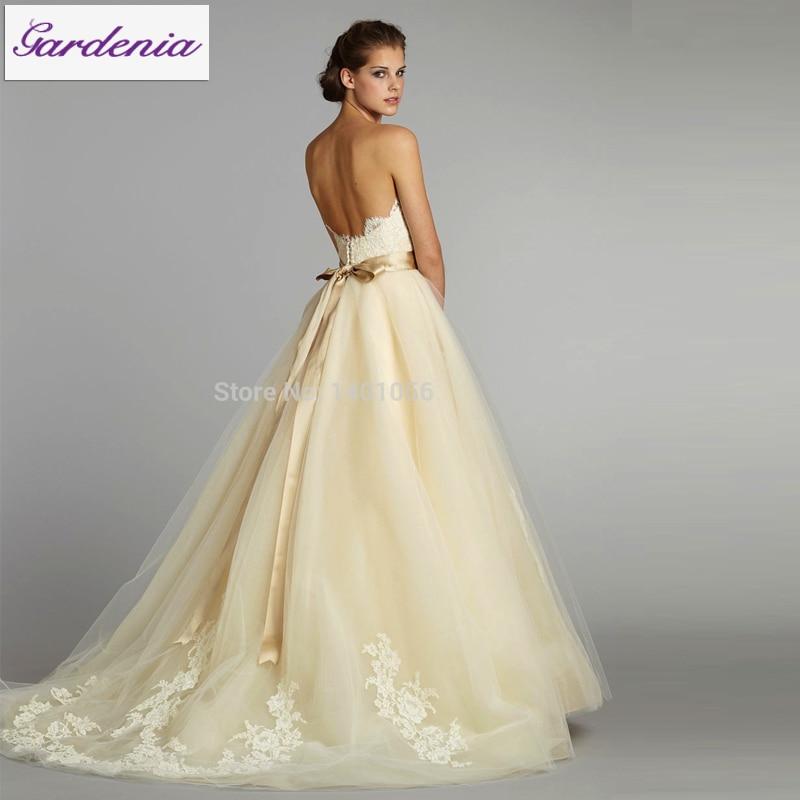 Charming Romantic Hot Sale Vestido De Noiva Sweetheart Zipper Low Back Ribbon Lace  Backless Wedding Dress Pale Yellow Wedding Dresses In Wedding Dresses From  ...