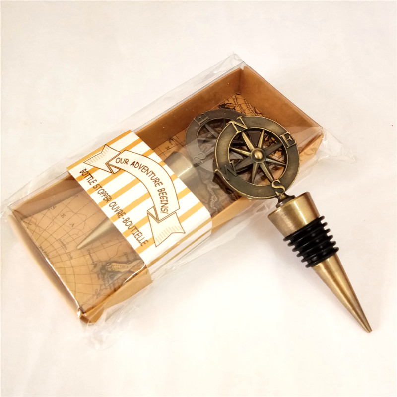 Wedding Wine Bottle Gifts: Silver Gold Compass Wine Stopper Wedding Favors And Gifts