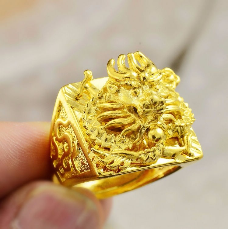 Chinese style large large Engraving 3D Dragon Men wide 24K Gold