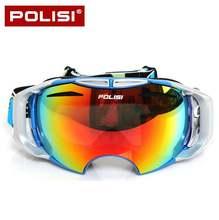 ПОЛИЗ зимние лыжные сноуборд очки снегоход скейт Анти-туман uv400 очки Открытый катание на лыжах снег очки со сменными линзами 2