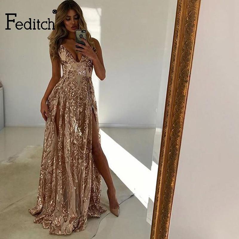 Feditch 2018 Elegant Summer Dress New Sexy Halter Sequin V Neck Maxi Dress Vintage Split Party Casual Women Dresses Plus Size