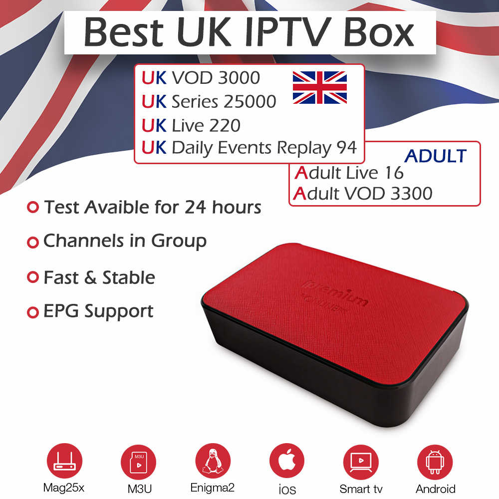 Ipremium ТВ коробка ТВ onlinepro Amlogic S905X BlueTooth 2,4 ГГц Wi-Fi 4 K H.265 + Великобритании IPTV подписка Европа 220 Великобритания живая и 3000VOD для взрослых