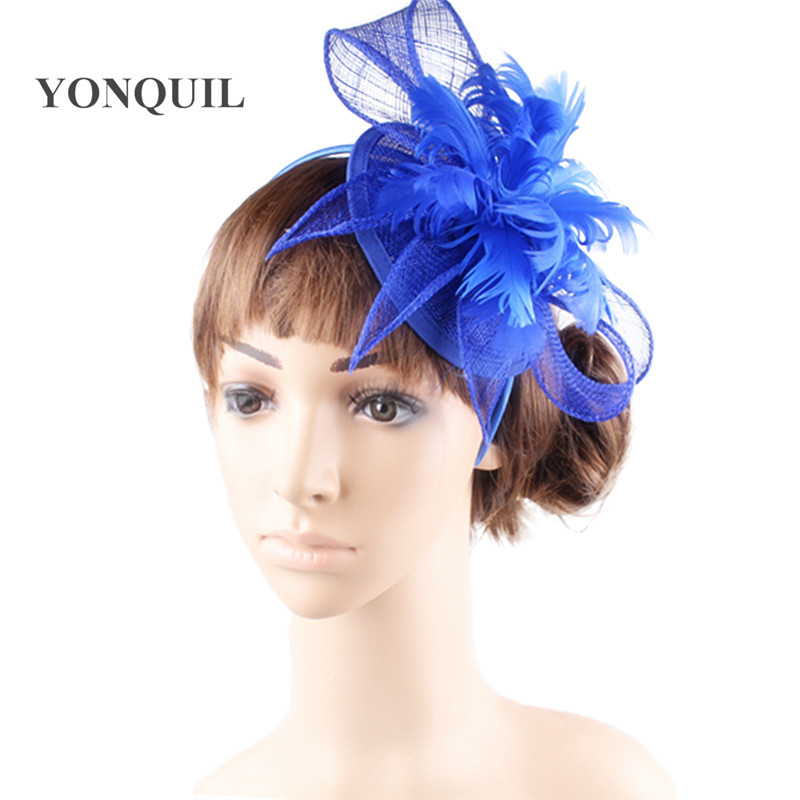 Royal Blue Sinamay Fascinator Hair Accessories Cocktail Hats Nice Party Hats Free Shipping 17 Colors Available 10Pcs/lot MSF267