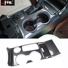 JHO ABS Carbon Grain Gear Shift Cup Holder Panel Overlay Cover Trim FOR Ford Explorer 2015-2019 2016 2017 2018 Car Accessories