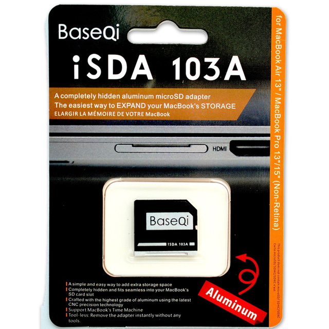 Baseqi alumínio adaptador de cartão microsd/reader103a para macbook air 13 ''/macbook pro