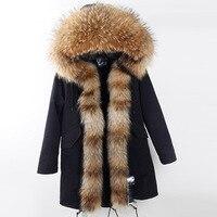 Las nuevas mujeres grandes mapache Pieles de animales algodón acolchado ropa de abrigo largo chaqueta con capucha extraíble Piel auténtica Sudaderas mujeres Pieles de animales parka
