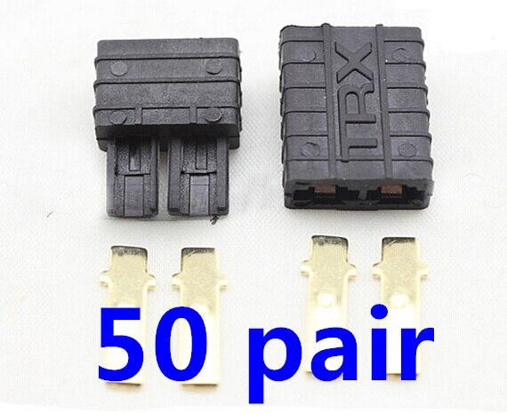 50 Pairs (100pcs) T-raxxas/T-RX Plugs Lipo/NiMh Brushless ESC Battery RC Connector - TRXx10 Free Shipping