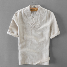 Italien marke flachs shirt männer sommer kurzarm männer shirts mode stehen kragen shirt mens beiläufige plus größe männlichen shirts chemise