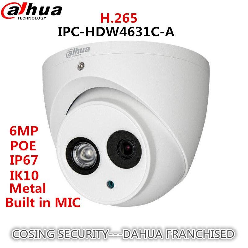 Original Dahua 6MP IP metal body Camera IPC-HDW4631C-A H.265 Built-in MIC IR50m IP67 IK10 CCTV Dome security Dahua Camera