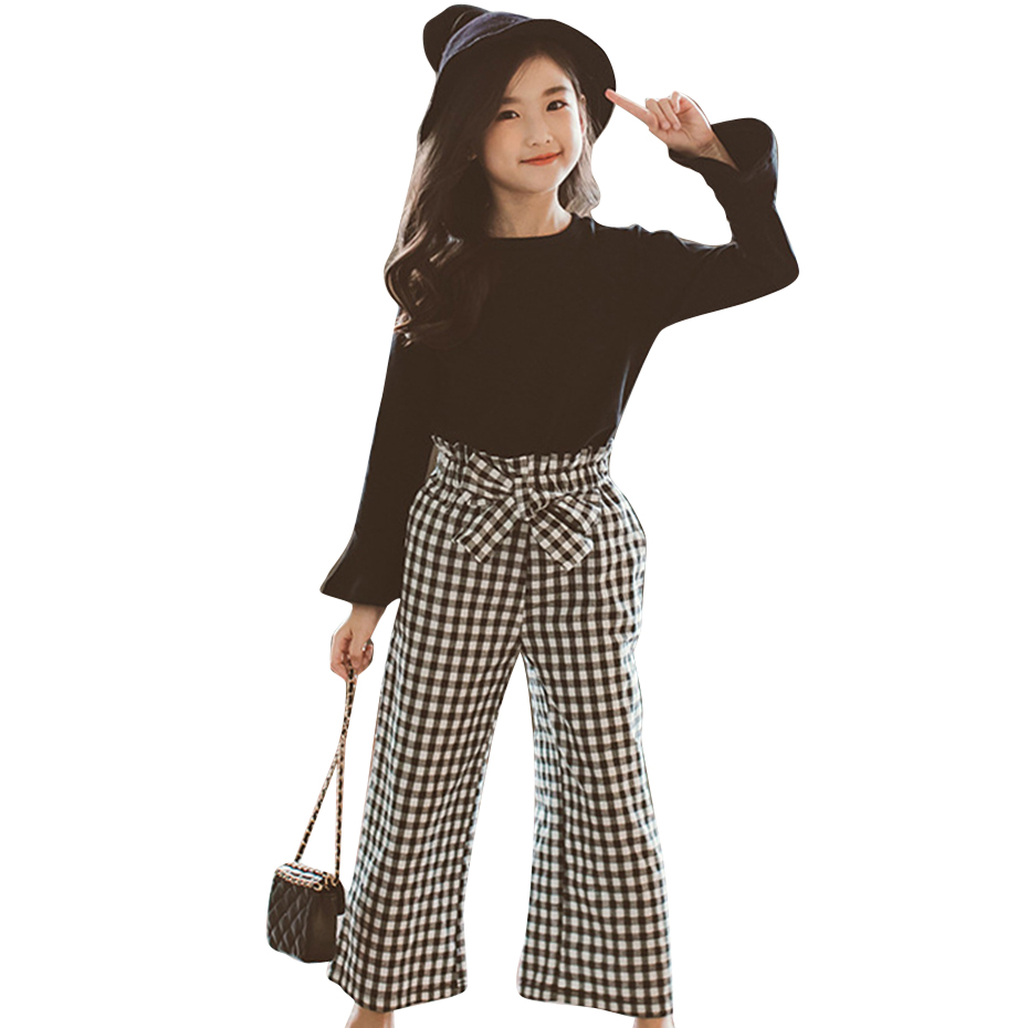 2019 Youngsters Ladies Garments Set Stable Shirt + Plaid Pants 2Pcs Ladies Set Spring Autumn Teenage Youngsters Clothes 6 8 10 12 13 14 12 months