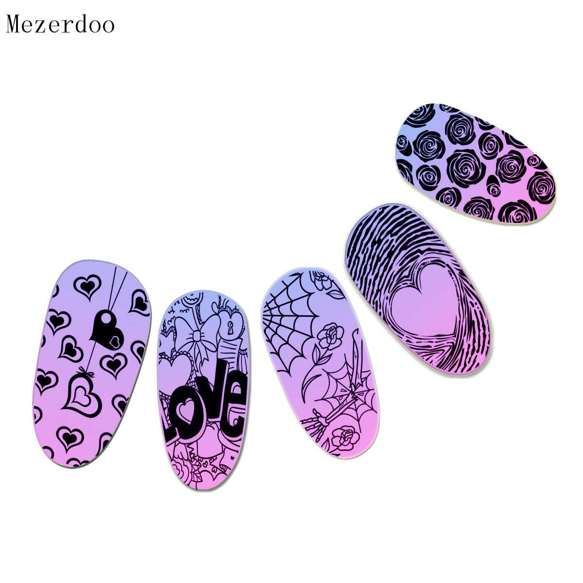 รักวันวาเลนไทน์รูปแบบแผ่น Rose Spider Webs ออกแบบ DIY Nail Art Stamp ภาพลายฉลุเล็บเครื่องมือ c35