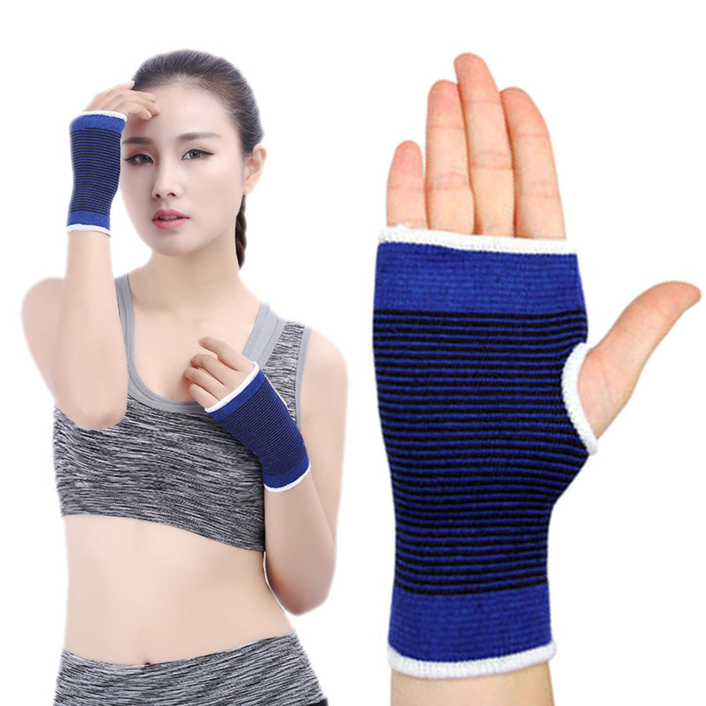 2 Pcs Men Women Wrist Palm Support Outdoor Sports Elastic Brace Sleeve Polyester Cotton Blue Hand Protecting Bandage Gym Wrap