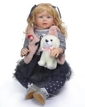 28'' Boneca bebes reborn Silicone Reborn Babies Dolls 70 cm Realistic Blonde Newborn Dolls Wear soft plush coat Children Gifts real looking silicone reborn dolls babies boneca soft toys for children girls lifelike reborn dolls babies with clothes headwear