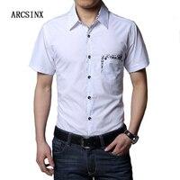 Arcsinx قميص ذكر زائد حجم 6xl 7xl 8xl الرجال اللباس الأبيض قميص قصير الأكمام الرجال قميص يتأهل الاجتماعي القمصان كبيرة الحجم أسود