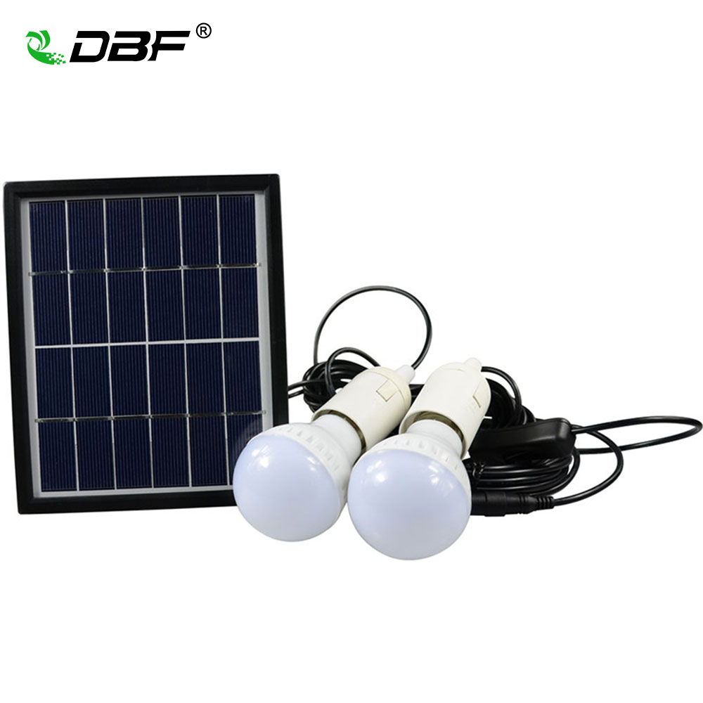[DBF]Waterproof IP65 Solar Powered LED Bulb 2835 SMD 3W*2 White LED Solar Double Bulbs for Garden Outdoor Camping LED Spotlight