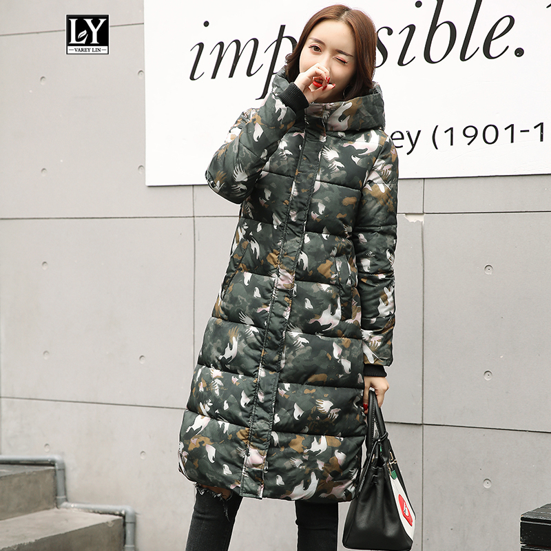 Ly Varey Lin 2019 New Women Winter Hooded Cotton Padded Long Jacket Coats Female High Quality Warm Thick Floral Print Outerwear