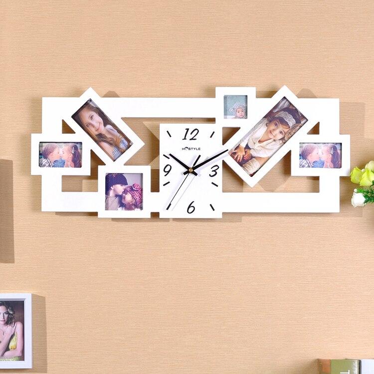 Kingart salón Reloj de pared marco de fotos reloj de madera grande ...