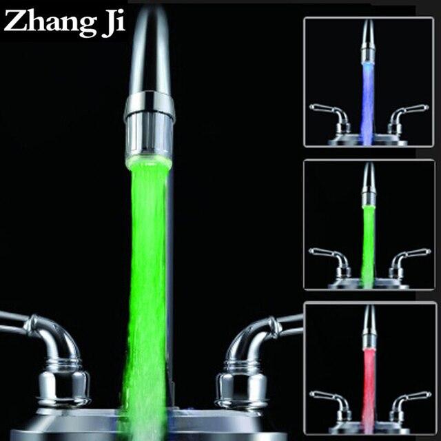 Zhangji Led Faucet Aerator 3 Color Water Power Shower Tap light  Water Saving Kitchen Aerator Led Faucet Aerator Light  ZJ117