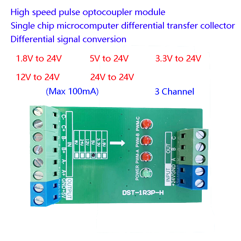 3 Channel High Speed Pulse Signal 2MHZ Voltage Level Conversion Single Chip Microcomputer PLC 3.3V 5V 12V 24V