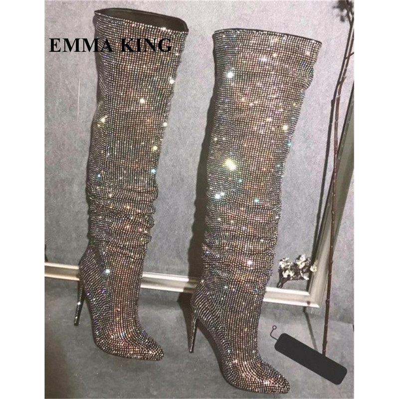 New Design Women Fashion Pointed Toe Bling Bling Over Knee Rhinestone Boots Crystal Long High Heel Boots Luxury Thin Heels BootsNew Design Women Fashion Pointed Toe Bling Bling Over Knee Rhinestone Boots Crystal Long High Heel Boots Luxury Thin Heels Boots