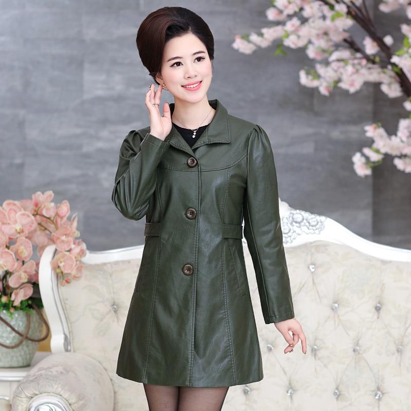 Women leather jacket long slim leather coat women 2017 new ladies jackets coats outerwear chaqueta de cuero de las mujeres