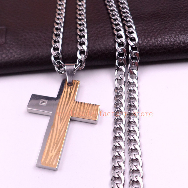 Gold silver stainless steel biker large cross pendant mens 6mm nk gold silver stainless steel biker large cross pendant mens 6mm nk curb chain necklace aloadofball Image collections