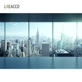 Laeacco Office Glass French Windows City Building Landscape Scene Photography Backgrounds Photographic Backdrop For Photo Studio laeacco unicorn words baby children comic celebration party scene photographic backgrounds photography backdrop for photo studio