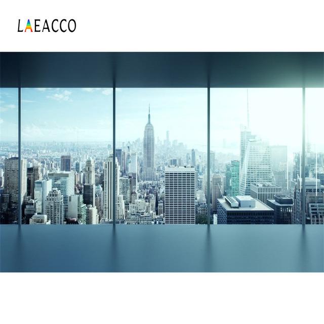 Laeacco Office Glass French Windows City Building Landscape Scene Photography Backgrounds Photographic Backdrop For Photo Studio