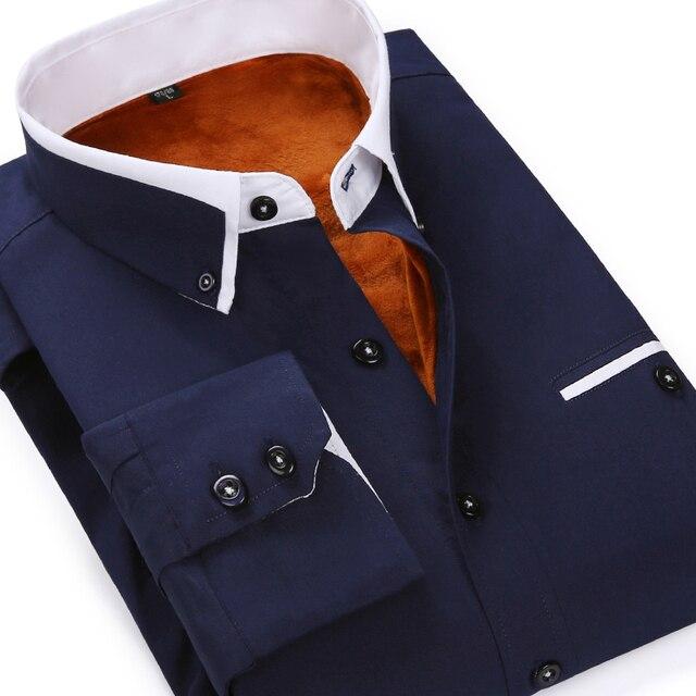 2016 New Autumn Winter Cotton Fashion Shirt Men Dark Blue Fleece Line Camisa Korean Slim Fit Social Velvet Brand Shirt Size 5XL