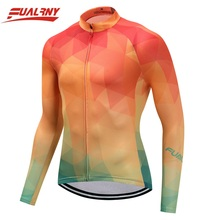 2019 Team FUALRNY Long sleeve Ropa Ciclismo Cycling Jersey 100% Polyester/Autumn Bicycle Clothing Bike Clothes Man Orange yellow цены