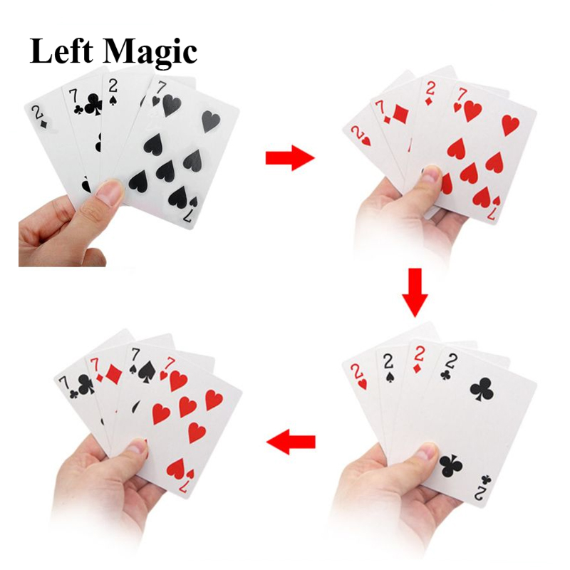 4 Cards 7 To 2 Transformer Magic Tricks Magic Props Close Up Street Magic Trick Playing Cards Accessories Comedy