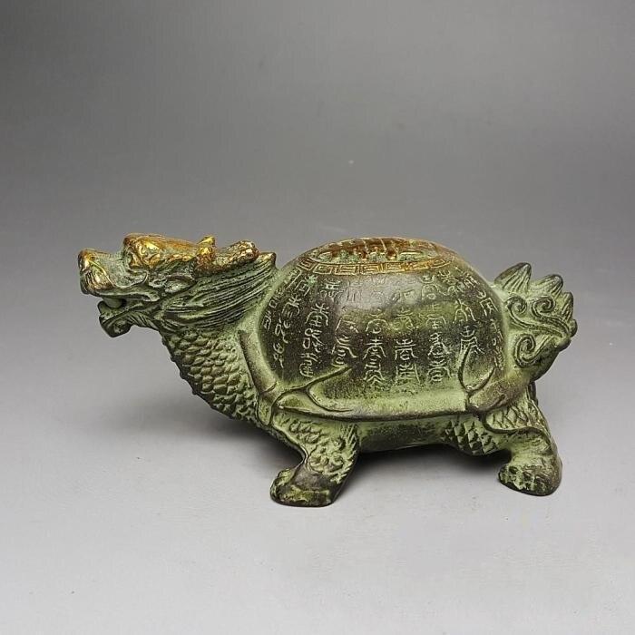 Ornements de noël + statue de tortue de Dragon en or sculpté en laiton pur, tortue de longévité longue 25 cm livraison gratuite - 2