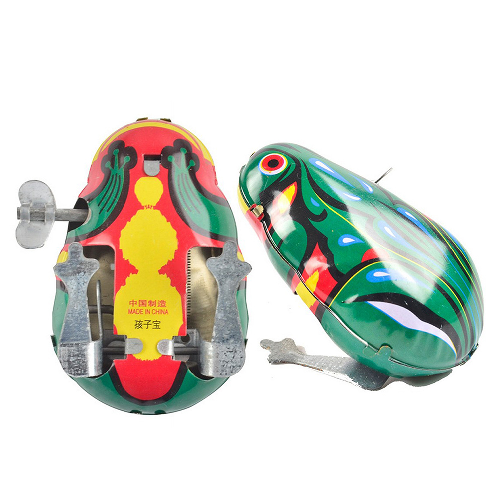 NEW Retro Vintage Frog Iron Sheet Wind Up Toy Clockwork Mechanical Collectible Kids Toy
