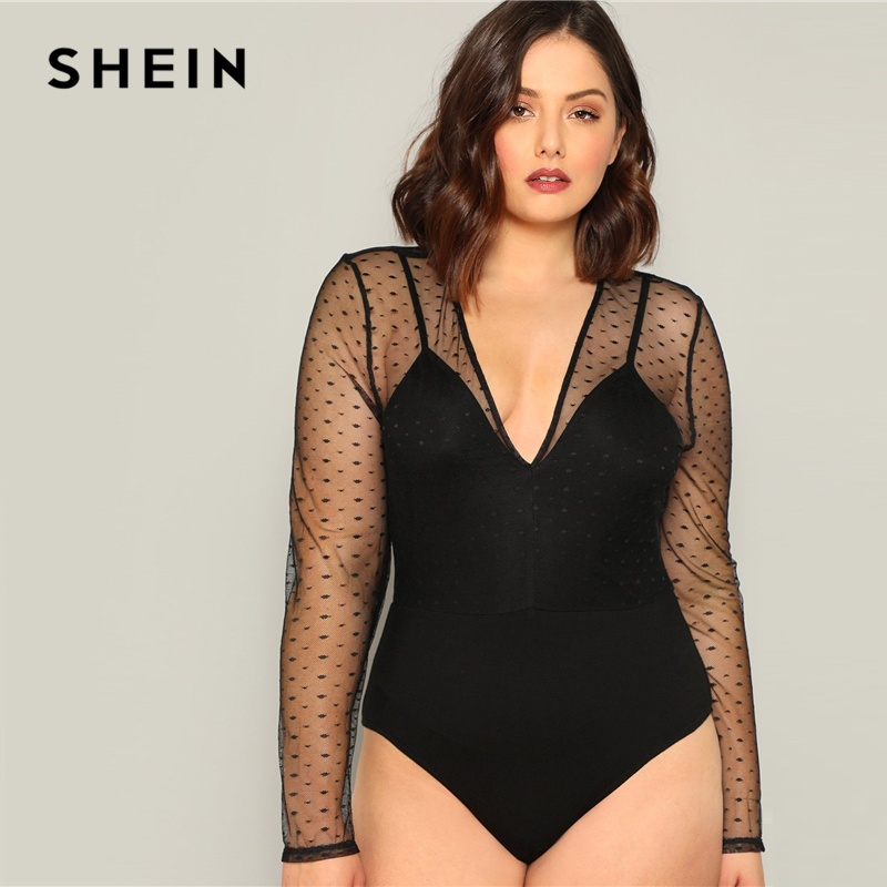 SHEIN Plus Size Sexy Black Contrast Dot Mesh Plunging Women Bodysuits Deep V-neck Long Sleeve Spring Summer Stretchy Bodysuit