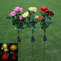 Открытый Солнечной энергии Искусственный Цветок Розы СВЕТОДИОДНЫЕ Фонари Сад Двор Газон Ландшафтный Декор Свадебный Партии Night Light Lamp