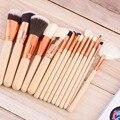 15 unids/set Cara Maquillaje sistema de Cepillo de Pelo De Nylon Suave Eyeshdow Fundación Contour Blush Powder Brush Cosméticos de Maquillaje Herramientas Kits