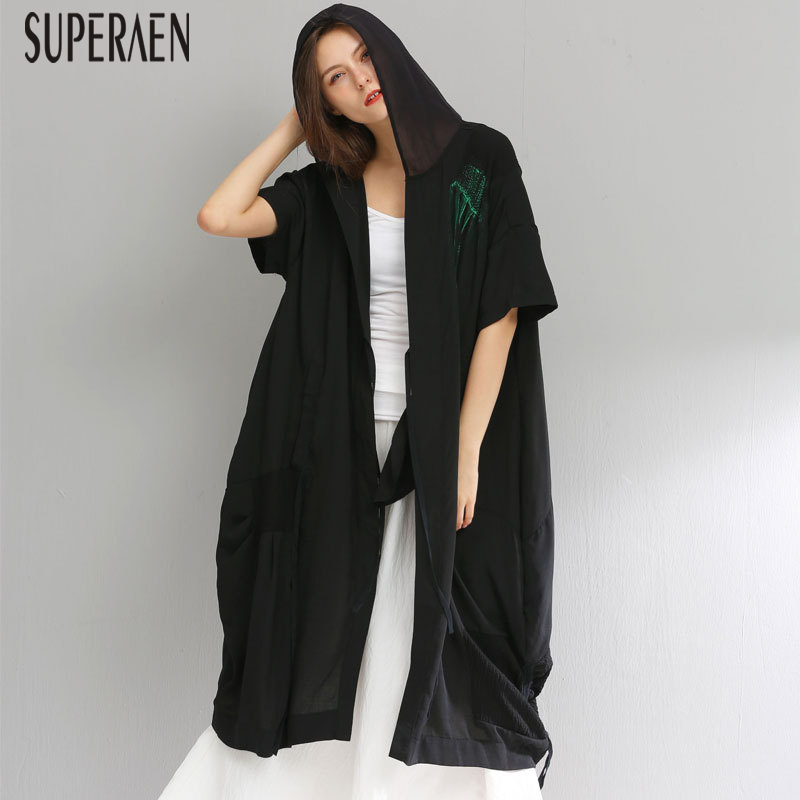 SuperAen 2019 Summer New   Trench   Coat for Women Pluz Size Cotton Wild Hooded Short Sleeve Fashion Sunscreen Women Clothing