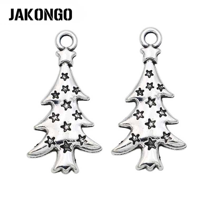 Charms Pendants Jewelry-Making Christmas-Tree Silver-Plated Antique 10pcs for DIY Handmade