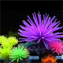 цены Aquarium Decoration Fish Tank Ornament Luminous Imitated Sea Anemone Simulated Sea Urchin Coral Furnishing Articles