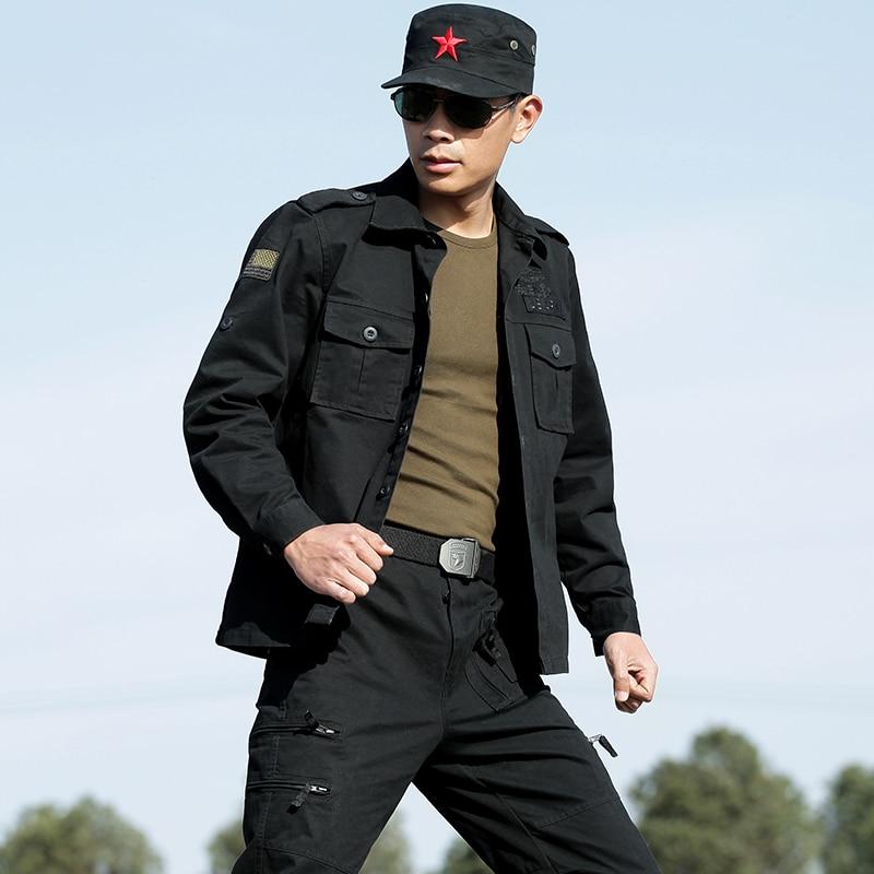 Men's Bomber Jacket Cotton Military Tactical Jacket Camouflage Hunting Jacket Black Sports Hiking Jacket Men Army Training Coat