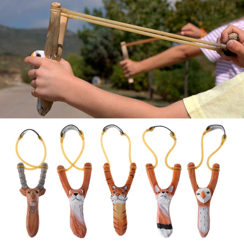 1 pc New Hunting Slingshot Animal Sculpture Wood Shooting Catapult Outdoor Powerful High Quality W20